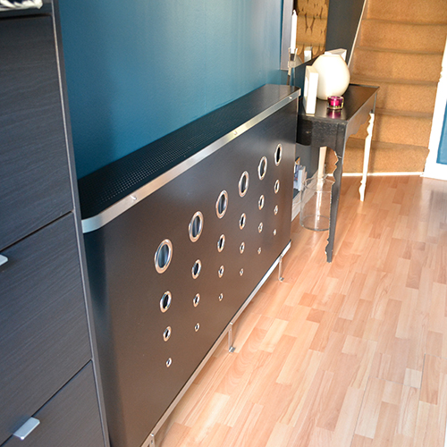 black hallway radiator covers and console tables