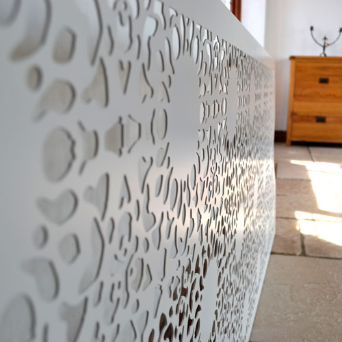 Nottingham Lace bespoke radiator covers in satin white