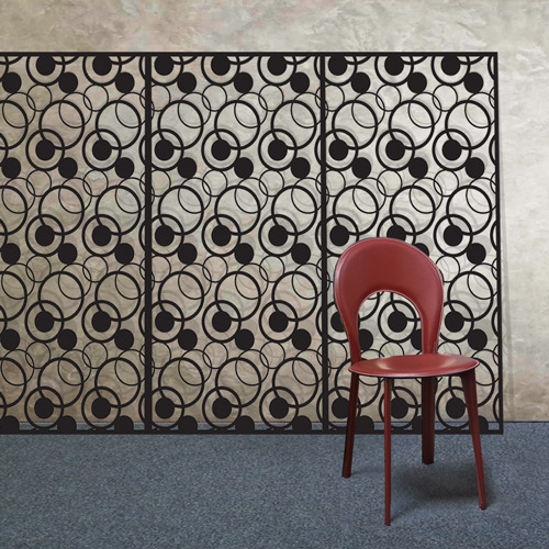 complex-circles-black-laser-cut-metal-panel-X4-with-red-chair