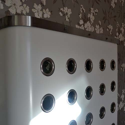 White / Gun Metal Radiator Cover