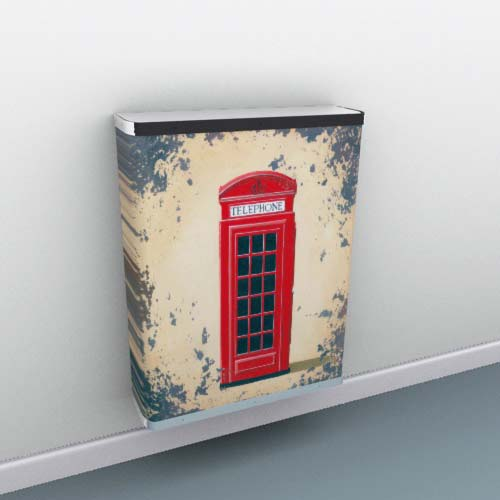 Red Phone Box on Metal Radiator Cover