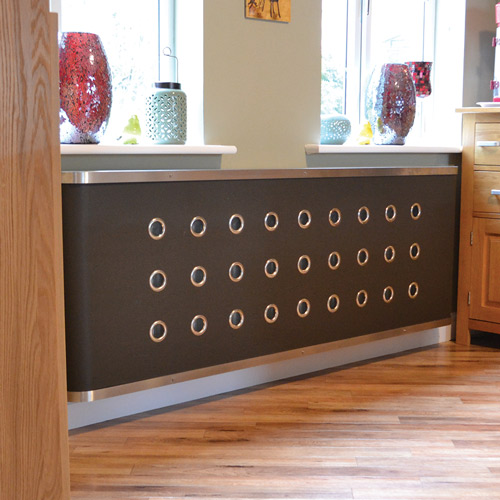 Leather radiator cover with eyelets Radiator Cover