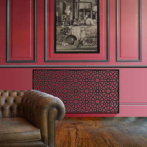 Persian geometric black radiator cover Radiator Cover