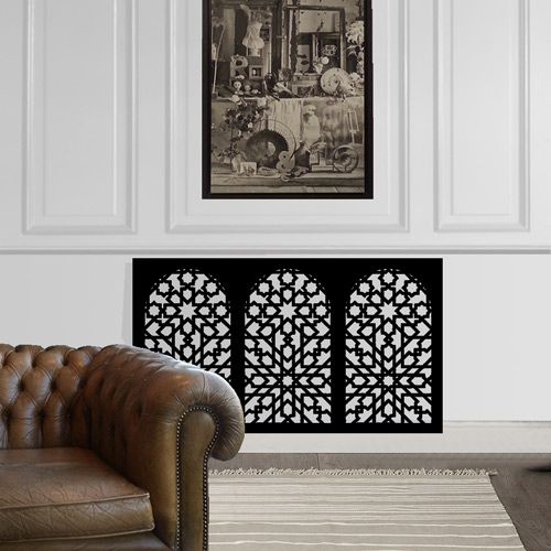 minaret-arabian-bespoke radiator-cover-in-black-in-white-room