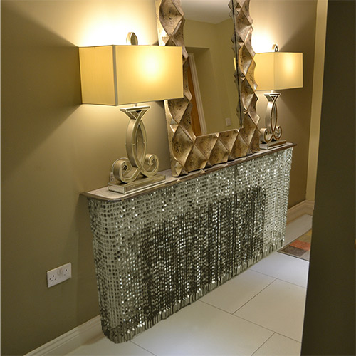 small-corridor-grey-crystal console table and radiator cover