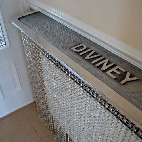 Personalised shelving on crystal Radiator Cover
