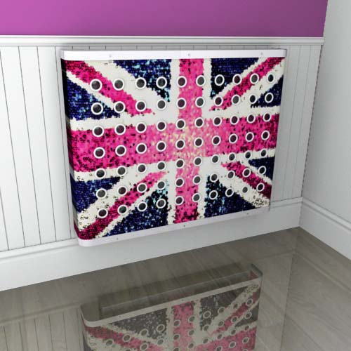Pink Union Jack Blur Radiator Cover