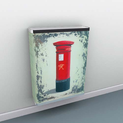 Red Post Box on Metal Radiator Cover